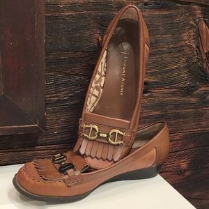 Etienne Aigner Lavon Leather Loafers Brown SZ 7